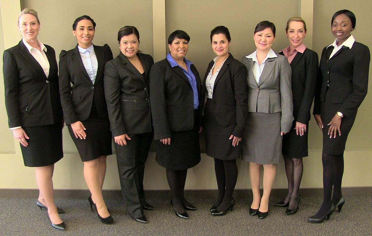 Students in Professional Clothes Posing for Mock Interview and Open House Day